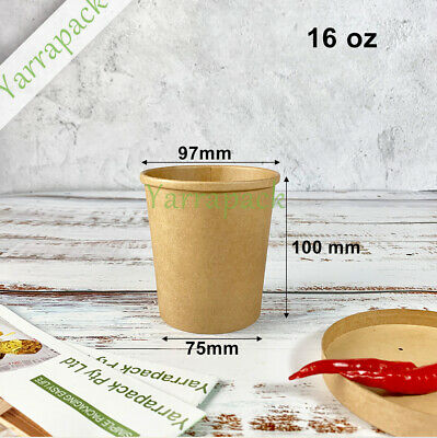 250pcs 16oz brown  paper soup  Cup with cardboad Lid or ice cream paper cup