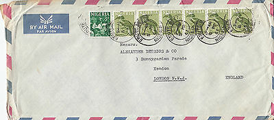 H 1600 Nigeria 1961 airmail cover to UK; 6/3d rate; 7 stamps, strip of 6