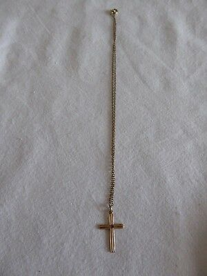 VINTAGE CROSS 9ct WITH RED STONE AND CHAIN