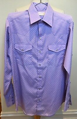 JASON by Fantasia 70's USA Vintage Mens Lilac Polka Dot Western Cowboy Shirt M