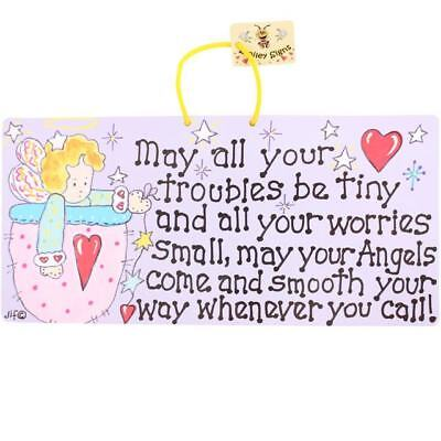 SMILEY HANGING SIGN May all your Troubles be tiny...Angel Sentiment - Ideal Gift