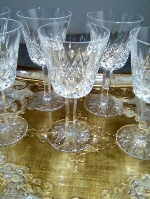 4 x 1970s Waterford Crystal lismore signed wine glasses vintage exlt condition