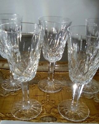 4 x 1970s Waterford Crystal lismore signed sherry glasses vintage