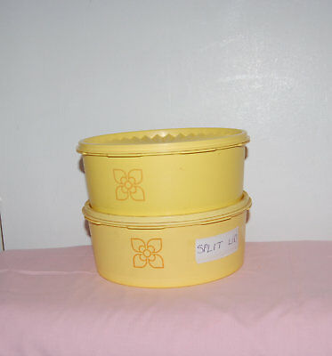 Vintage Yellow Tupperware Set Of 2 Containers