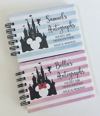 Personalised Disney Autograph Book*A6*MINNIE or MICKEY CASTLE*Pink orBlue REVEAL