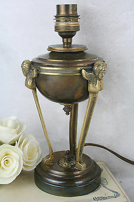 Antique french 1930 Empire style Caryatid winged lady lamp brass
