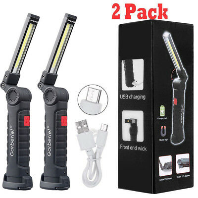 Rechargeable COB LED Slim Work Light Lamp Flashlight Inspect Folding Torch USA