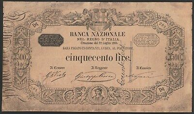 Italy 500 lire 1885, PS744, forgery w/ excellent details & attempted watermark!