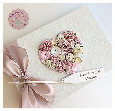 Personalised Wedding Guest Book Luxury Vintage Floral Heart Rustic Includes BOX