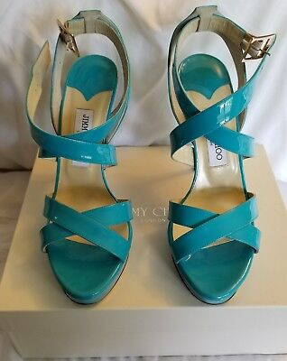JIMMY CHOO Turquoise Vamp Strap Heels  - size 39.5 / 9.5 - New In Box NEVER WORN