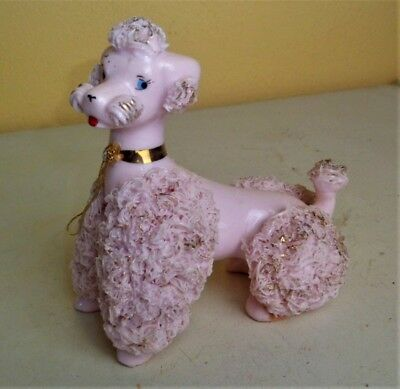 Vintage Porcelain Ceramic LEFTON'S JAPAN Pink Spaghetti Dog Poodle KB80204
