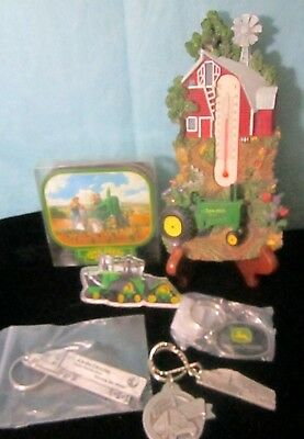 Mixed Lot John Deere Collectibles  Keychains Magnet Thermometer Coasters
