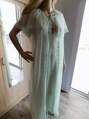 Vintage 1970s Nylon Mint Green Long Nightgown and Robe St Michaels UK 10-12