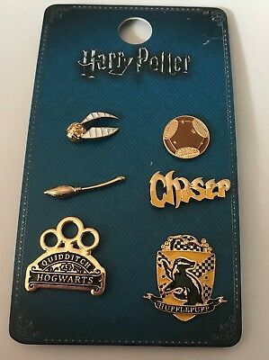 PRIMARK HARRY POTTER TEAM HUFFLEPUFF 6 METAL PIN BADGE SET - Brand New