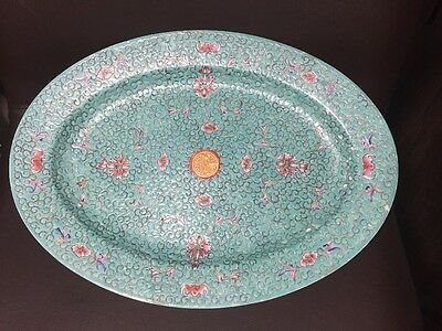 Large Hand Painted Chinese Greek Key Longevity Oval Platter Plate