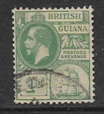 BRITISH GUIANA - KGV ERA USED DEFINITIVE STAMP 1913 KGV & SEAL OF COLONY 1c