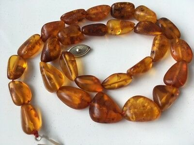 Natural Antique Baltic Vintage Amber OLD BUTTERSCOTCH EGG YOLK BEADS Necklace