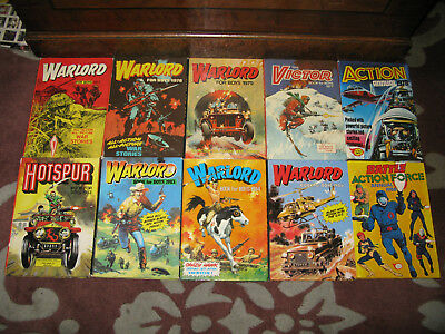 Joblot of 10 annuals WARLORD FOR BOYS /VICTOR/HOTSPOR/ACTION FORCE X10 1970S/80S