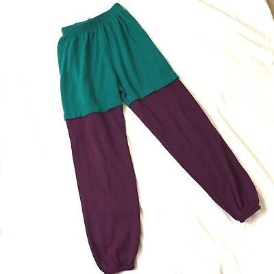 Vintage Children's Sweatpants Size Medium Colorblock Teal Purple Layered Look
