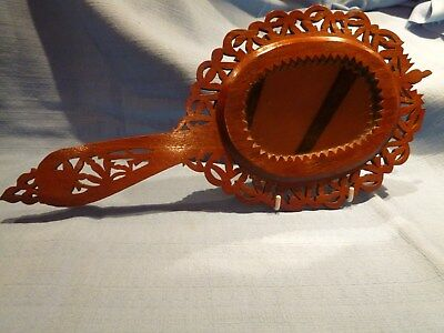 Vintage Arts & Crafts Style Fretwork Carved Treen Hand Mirror Anglo Indian.