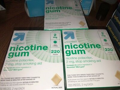 3x Up & Up Uncoated Nicotine 2mg Stop Smoking Aid Gum 220 Ct- Mint -Exp  2020