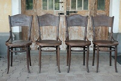 4 Thonet Bentwood Kitchen Dining Cafe Chairs