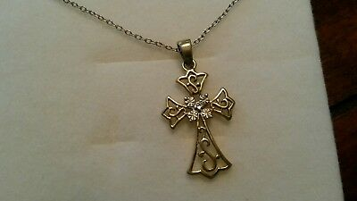 "Estate Find Beautiful Sterling Silver Two Tone Cross Pendant on 18"" 925 Chain"