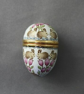 Halcyon Days Enamel Egg Trinket Pill Box Bunnies Easter Rabbits Floral