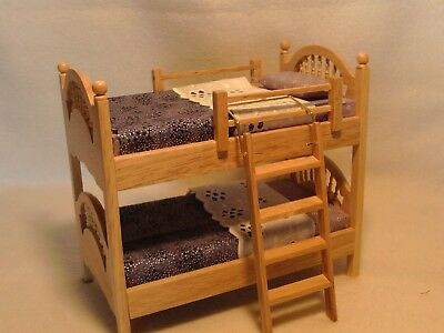 Dolls House Furniture Bedroom Bunk Beds 12Th Scale