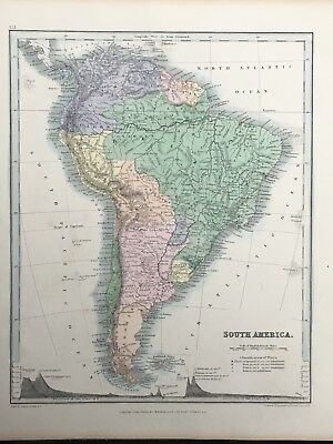 1849 South America Original Antique Hand Coloured Map By John Dower