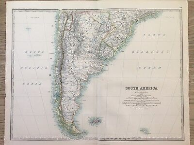 1888 Argentina & Chile Large Original Antique Map By Johnston 130 Years Old