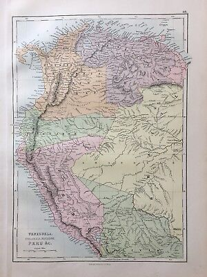 1888 Venezuela Colombia Ecuador Peru North Bolivia  Map By John Bartholomew