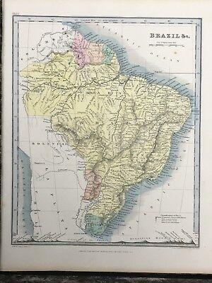1849 Brazil Original Antique Hand Coloured Map By John Dower