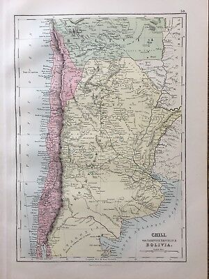 1888 Chile Argentina South Bolivia Antique Map By John Bartholomew