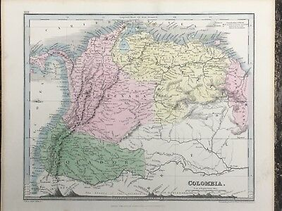 1849 Colombia Venezuela Ecuador Original Antique Hand Coloured Map By John Dower