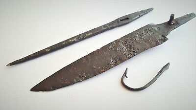 Lot Of 3 Ancient Viking Iron Artefacts 8-10 Ad Blade Needle Fishing Hook