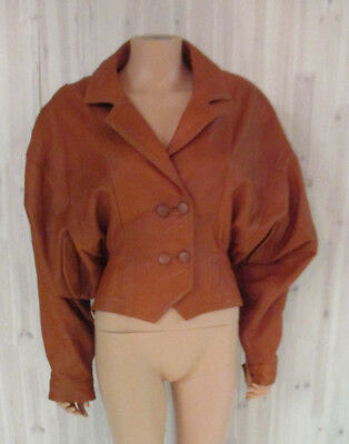 DRAMATIC SLEEVED VINTAGE LEATHER BROWN SOFTEST & SUPPLE JACKET sz Med