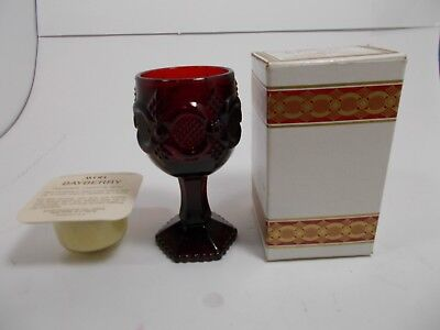 Vintage Avon Cape Cod Ruby Red 1876 Collection Glass Wine Goblet Bayberry candle