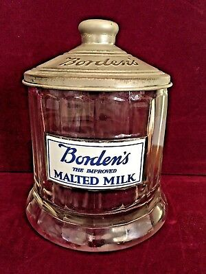 Borden's The Improved Malted Milk Glass Display Jar with Lid