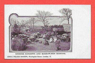 Chinese Barrows and Barrow Men Resting Vintage Postcard China Inland Mission