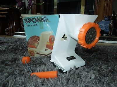 Vintage Spong Mincer 305. Retro Design. Orange & White.