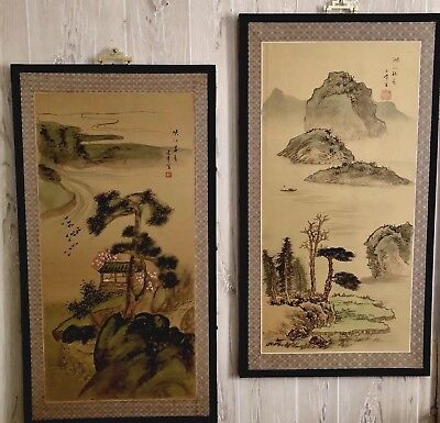 Large Pair Fine Old Chinese Landscape Watercolor Paintings On Silk Wood Signed