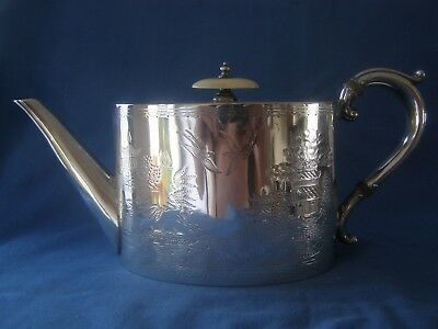 Antique Silver Plate Small Teapot  Willow Pattern Engraving Great Condition 1880