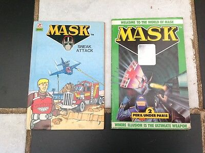 VINTAGE ORIGINAL MASK TV SHOW CARTOON 2x BOOKS 1986 Sneak Attack,Peril Und Paris