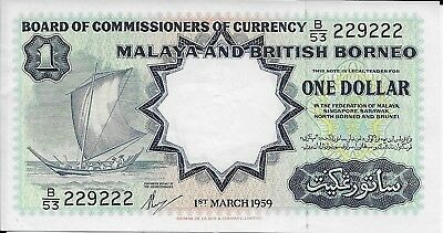 Scarce 1959 Malaya And British Borneo $1.00 Banknote, Pick #8