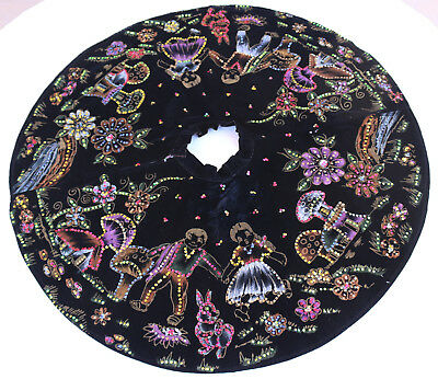 VINTAGE 1950's Mexican hand painted circle skirt Sequin Black Velvet
