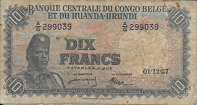 1957 Ten Franc Note Issued by The Central Bank of the Belgian Congo, Pick #30b