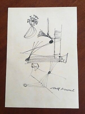 Original Abstract Pen Drawing Signed Rolf Caveal Non Representational c. 1961