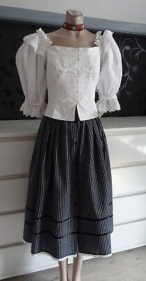 German Austrian White Dirndl Bodice & Skirt 8