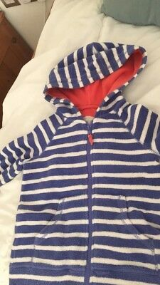 Mini Boden Towelling Jacket Hoodie Blue stripes Age 5-6